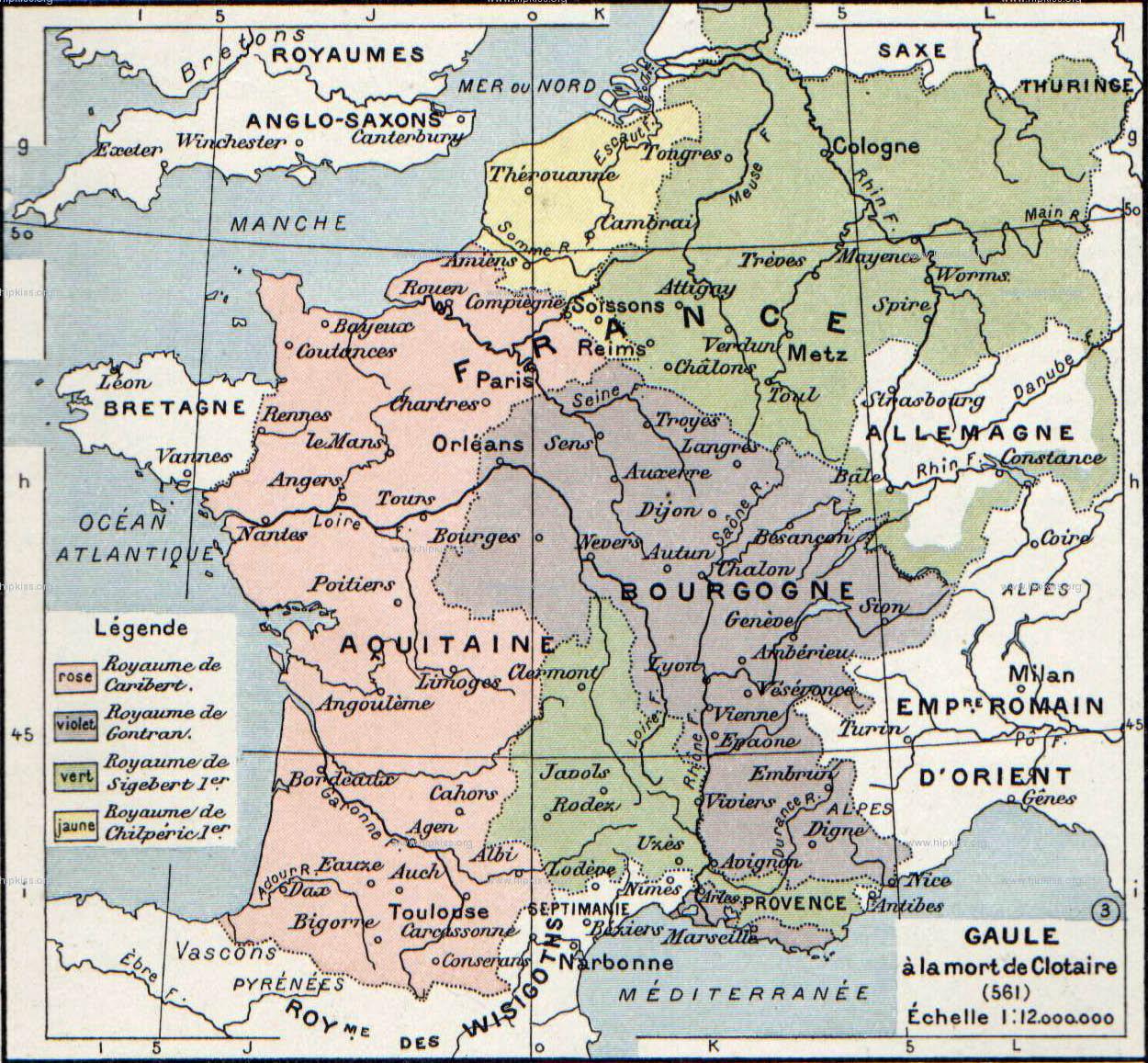 Kart over Gallia i 561