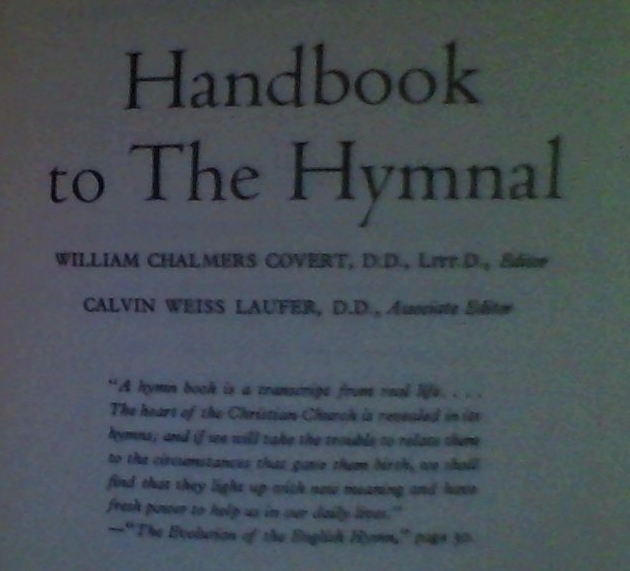 Handbook to the Hymnal (1935) August 28, 2013