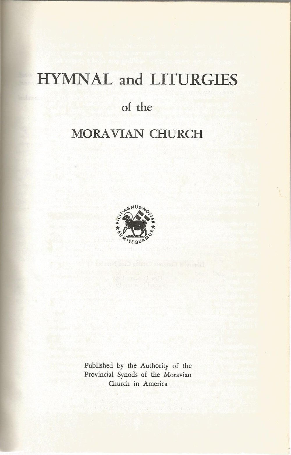 Hymnal and Liturgies Title Page