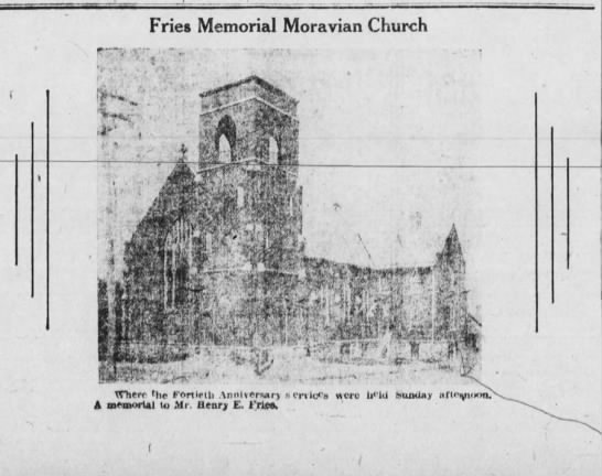 Fries Memorial Moravian Church 1917